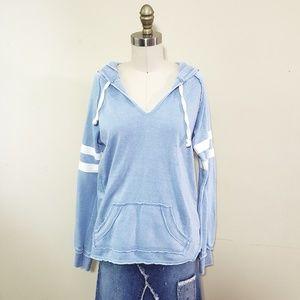 Super Soft Baby Blue Varsity Stripe Hoodie
